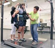 Dr Feng Youg and UTEP students work with patients at the Biomechanics Lab.